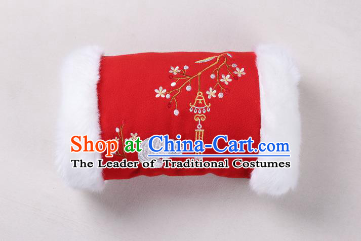 Traditional Ancient Chinese Embroidered Hanfu Muff Embroidered Fox Red Handwarmers for Women