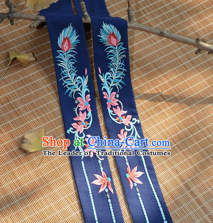 Traditional Ancient Chinese Embroidered Hanfu Hair Snood Embroidered Ombre Flowers Navy Silk Bandeau for Women
