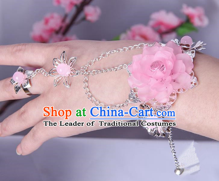 Traditional Handmade Chinese Ancient Princess Classical Accessories Jewellery Pink Flowers Bracelets Chain Bracelet with Ring for Women