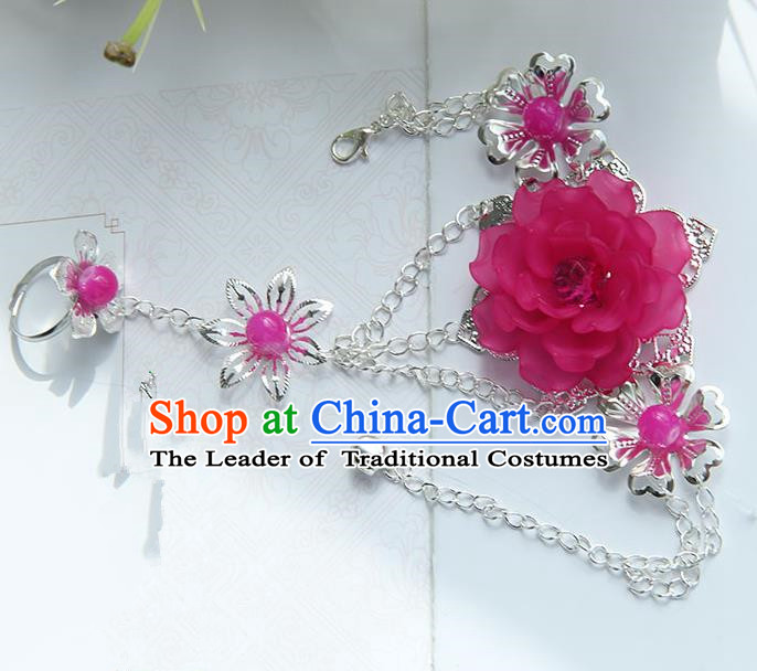 Traditional Handmade Chinese Ancient Princess Classical Accessories Jewellery Rose Flowers Bracelets Chain Bracelet with Ring for Women