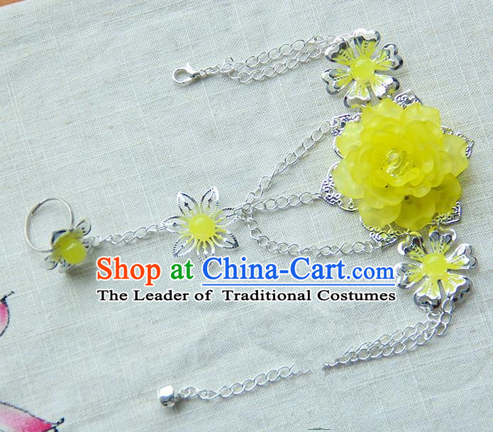 Traditional Handmade Chinese Ancient Princess Classical Accessories Jewellery Yellow Flowers Bracelets Chain Bracelet with Ring for Women