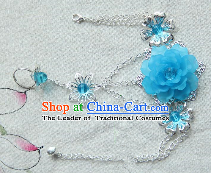 Traditional Handmade Chinese Ancient Princess Classical Accessories Jewellery Blue Flowers Bracelets Chain Bracelet with Ring for Women