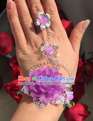 Traditional Handmade Chinese Ancient Princess Classical Accessories Jewellery Purple Flowers Bracelets Chain Bracelet with Ring for Women