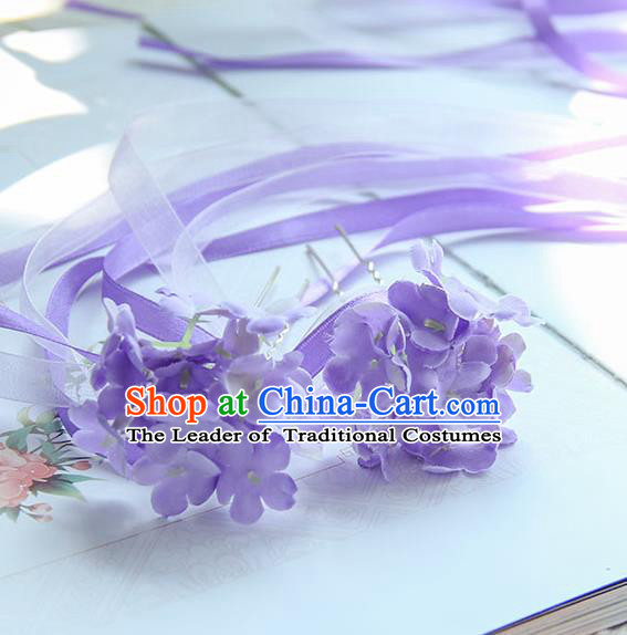 Traditional Handmade Chinese Ancient Princess Classical Accessories Jewellery Hair Sticks Long Ribbon Purple Hair Claws, Hair Fascinators Hairpins for Women