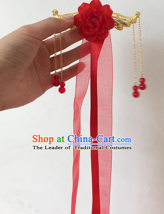Traditional Handmade Chinese Ancient Princess Classical Accessories Jewellery Hanfu Hair Sticks Long Ribbon Red Hair Claws, Hair Fascinators Hairpins for Women