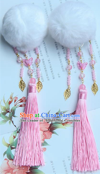 Traditional Handmade Chinese Ancient Princess Classical Accessories Jewellery Hanfu Hair Sticks Pink Venonat Hair Claws, Hair Fascinators Hairpins for Women