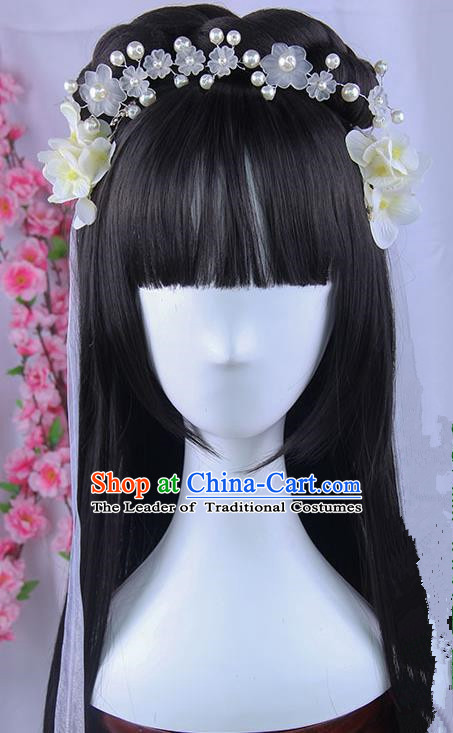 Traditional Handmade Ancient Chinese Tang Dynasty Imperial Princess Hair Decoration and Wig Complete Set, Ancient Chinese Young Lady Headwear and Wig for Women