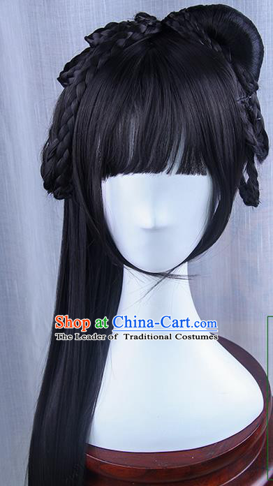Traditional Handmade Ancient Chinese Tang Dynasty Princess Wig, Ancient Chinese Palace Young Lady Long Wig for Women