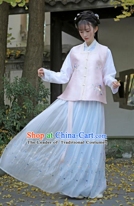 Traditional Ancient Chinese Female Costume Embroidered Flowers Birds Vest Blouse and Dress Complete Set, Elegant Hanfu Clothing Chinese Ming Dynasty Embroidered Palace Princess Clothing for Women