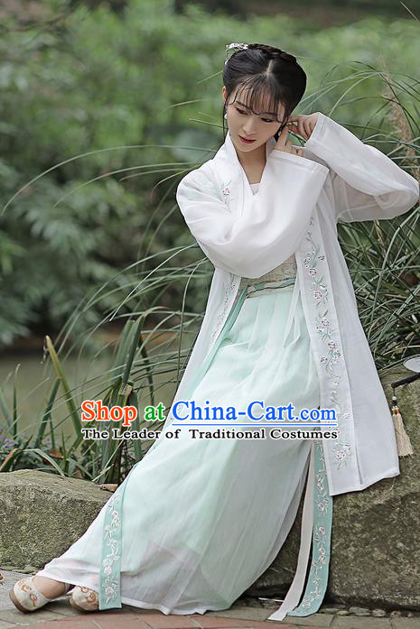 Traditional Ancient Chinese Female Costume Embroidered Flowers Cardigan Blouse and Dress Complete Set, Elegant Hanfu Clothing Chinese Ming Dynasty Embroidered Palace Princess Clothing for Women