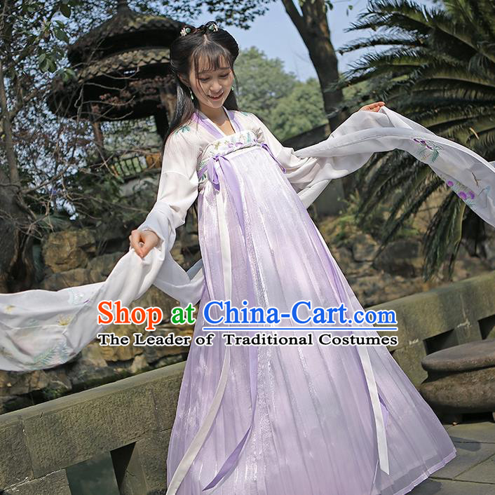Traditional Ancient Chinese Female Costume Embroidered Albizia Flowers Dress, Elegant Hanfu Clothing Chinese Tang Dynasty Embroidered Palace Princess Dress for Women