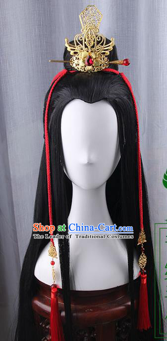 Traditional Handmade Ancient Chinese Tang Dynasty Imperial Prince Wedding Hair Decoration and Wig Complete Set, Ancient Chinese Swordsman Headwear and Wig for Men