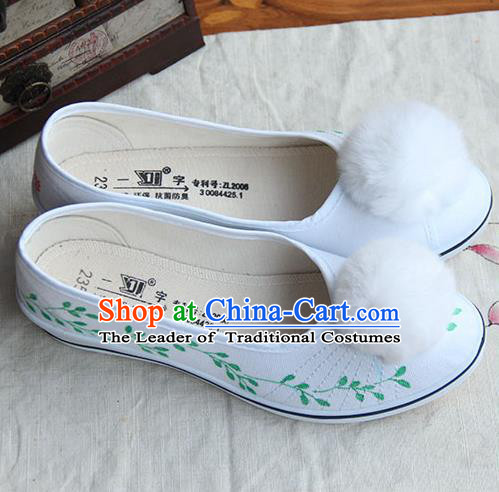 Traditional Handmade Ancient Chinese Han Dynasty Imperial Princess Freehand Sketching White Hair Bulb Shoes for Women