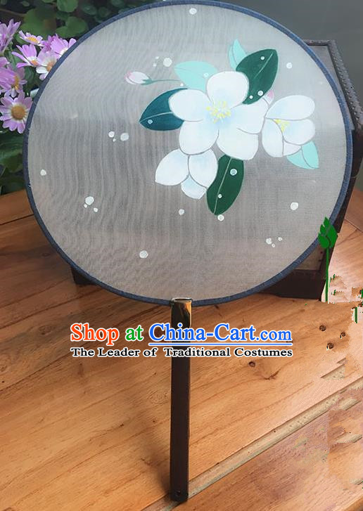 Traditional Handmade Ancient Chinese Han Dynasty Imperial Princess Painting Chaenomeles Speciosa Round Hanfu Silk Fan for Women