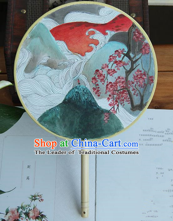 Traditional Handmade Ancient Chinese Tang Dynasty Imperial Princess Painting Palace Lady Round Hanfu Silk Fan for Women