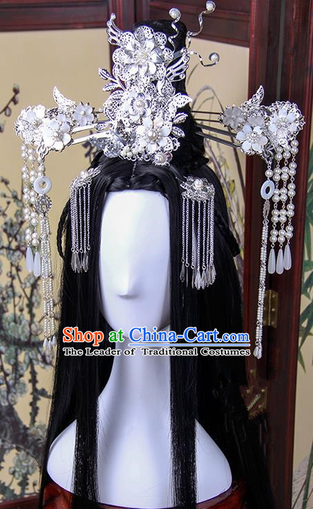 Traditional Handmade Ancient Chinese Tang Dynasty Imperial Princess Hair Decoration and Hair Wig Complete Set, Ancient Cosplay Fairy Chinese Young Lady Headwear and Wig for Women