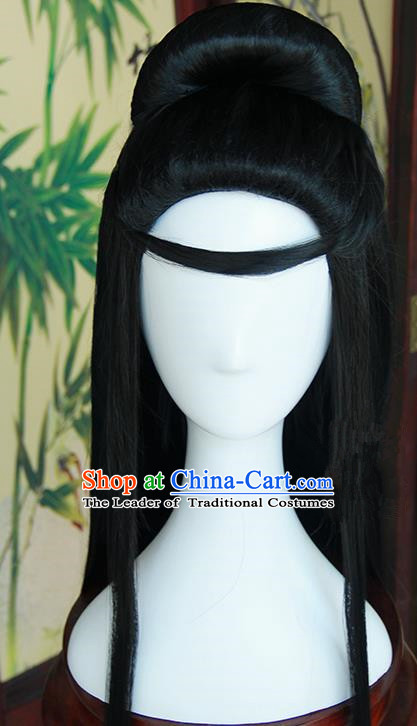 Traditional Handmade Ancient Chinese Tang Dynasty Imperial Princess Fairy Wig, Ancient Chinese Cosplay Fairy Palace Young Lady Hair Wig for Women
