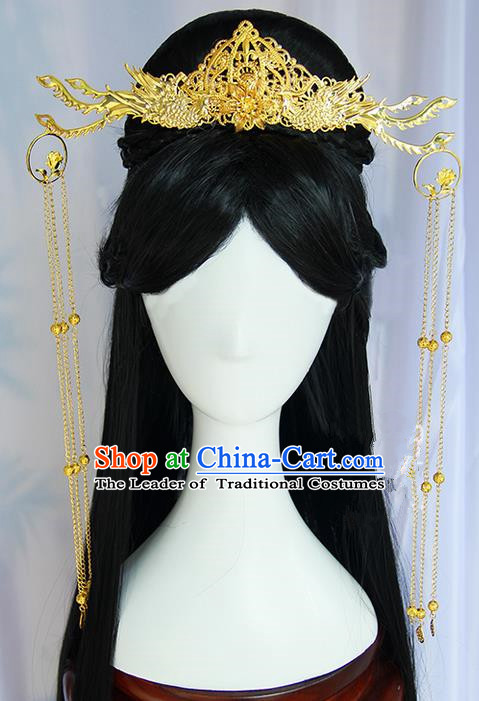 Traditional Handmade Ancient Chinese Tang Dynasty Imperial Empress Wedding Hair Decoration and Wig Complete Set, Ancient Chinese Queen Headwear and Wig for Women