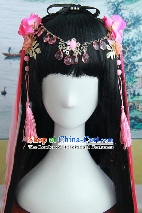 Traditional Handmade Ancient Chinese Han Dynasty Imperial Empress Hair Decoration and Wig Complete Set, Ancient Chinese Cosplay Fairy Queen Hanfu Headwear and Wig for Women