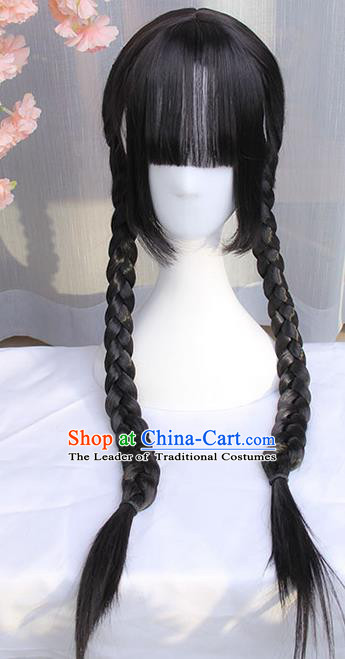 Traditional Handmade Ancient Chinese Qing Dynasty Wig, Ancient Chinese Hanfu Cosplay Republic of China Student Wig for Women