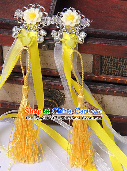 Traditional Handmade Chinese Ancient Princess Classical Hanfu Accessories Jewellery Yellow Long Ribbons Bells Hair Sticks Hair Claws, Tassel Hair Fascinators Hairpins for Women