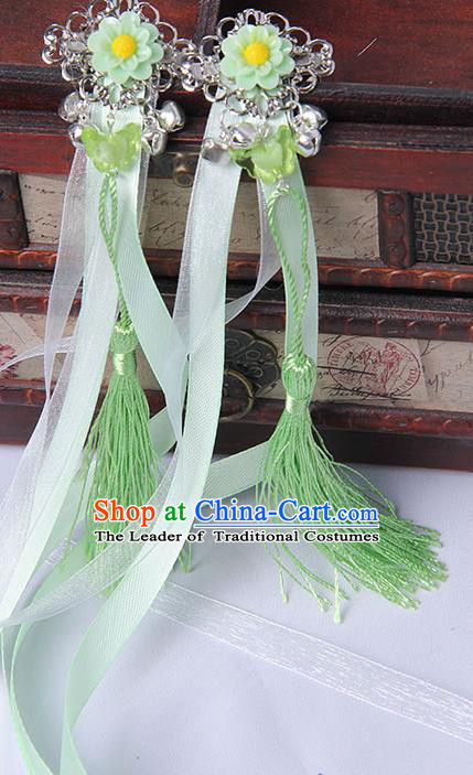 Traditional Handmade Chinese Ancient Princess Classical Hanfu Accessories Jewellery Green Long Ribbons Bells Hair Sticks Hair Claws, Tassel Hair Fascinators Hairpins for Women