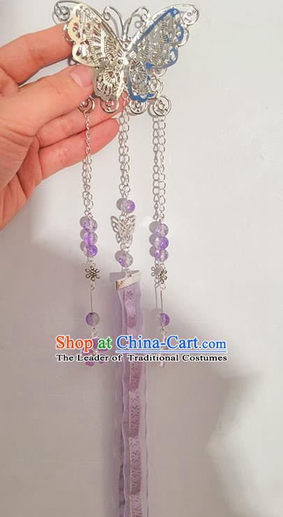 Traditional Handmade Chinese Ancient Princess Classical Hanfu Accessories Jewellery Long Lilac Ribbons Hair Sticks Butterfly Hair Claws, Tassel Hair Fascinators Hairpins for Women