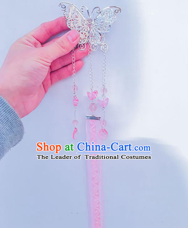 Traditional Handmade Chinese Ancient Princess Classical Hanfu Accessories Jewellery Long Pink Ribbons Hair Sticks Butterfly Hair Claws, Tassel Hair Fascinators Hairpins for Women