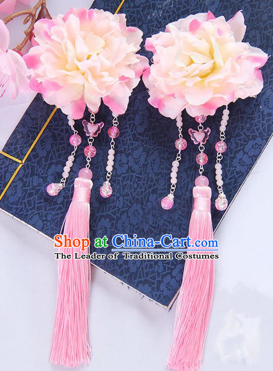 Traditional Handmade Chinese Ancient Princess Classical Hanfu Accessories Jewellery Pink Silk Flowers Hair Sticks Hair Claws, Tassel Hair Fascinators Hairpins for Women