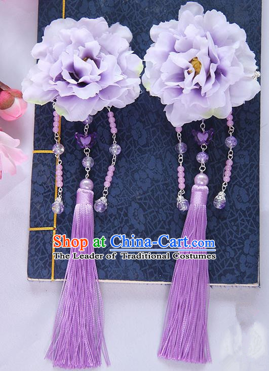 Traditional Handmade Chinese Ancient Princess Classical Hanfu Accessories Jewellery Lavender Silk Flowers Hair Sticks Hair Claws, Tassel Hair Fascinators Hairpins for Women