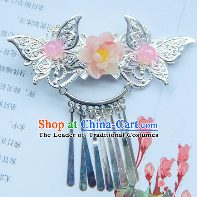 Traditional Handmade Chinese Ancient Princess Classical Hanfu Accessories Jewellery Butterfly Hair Sticks Hair Step Shake, Tassel Hair Fascinators Hairpins for Women