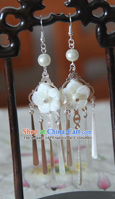 Traditional Handmade Chinese Ancient Princess Classical Hanfu Accessories Jewellery Tassel Shell Earrings for Women