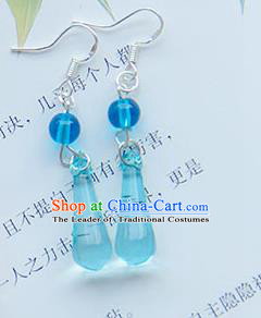 Traditional Handmade Chinese Ancient Princess Classical Hanfu Accessories Jewellery Blue Crystal Earrings Eardrop for Women