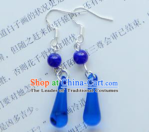 Traditional Handmade Chinese Ancient Princess Classical Hanfu Accessories Jewellery Deep Blue Crystal Earrings Eardrop for Women
