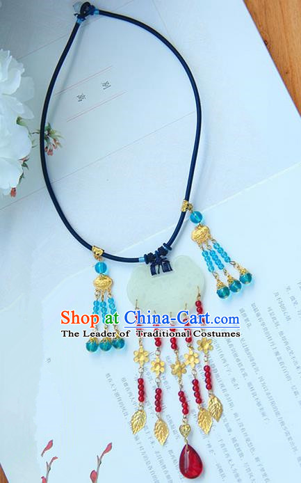 Traditional Handmade Chinese Ancient Princess Classical Hanfu Accessories Jewellery Jade Necklace for Women