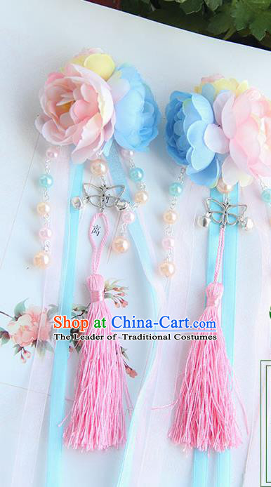 Traditional Handmade Chinese Ancient Princess Classical Hanfu Accessories Jewellery Pearl Bells Silk Flowers Hair Sticks Hair Claws, Tassel Hair Fascinators Hairpins for Women