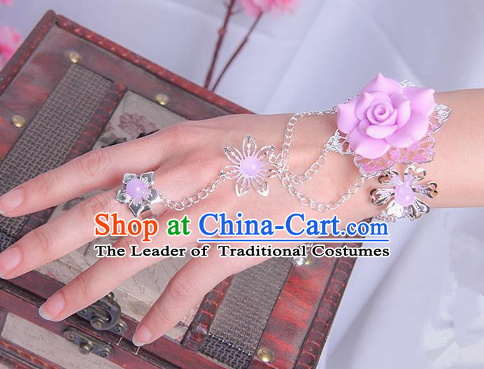 Traditional Handmade Chinese Ancient Princess Classical Hanfu Accessories Jewellery Pink Flower Bracelet and Ring Chain for Women