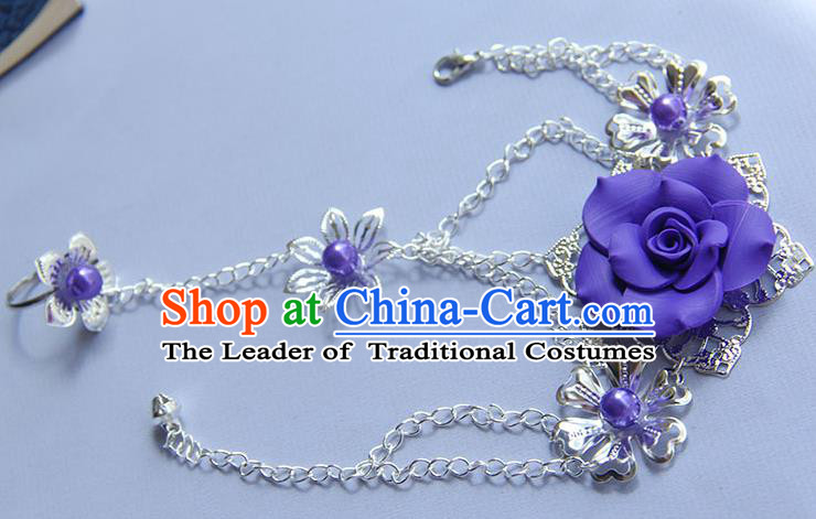 Traditional Handmade Chinese Ancient Princess Classical Hanfu Accessories Jewellery Purple Flower Bracelet and Ring Chain for Women