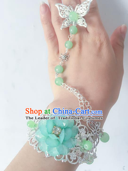 Traditional Handmade Chinese Ancient Princess Classical Hanfu Accessories Jewellery Blue Flower Butterfly Bracelet and Ring Chain for Women