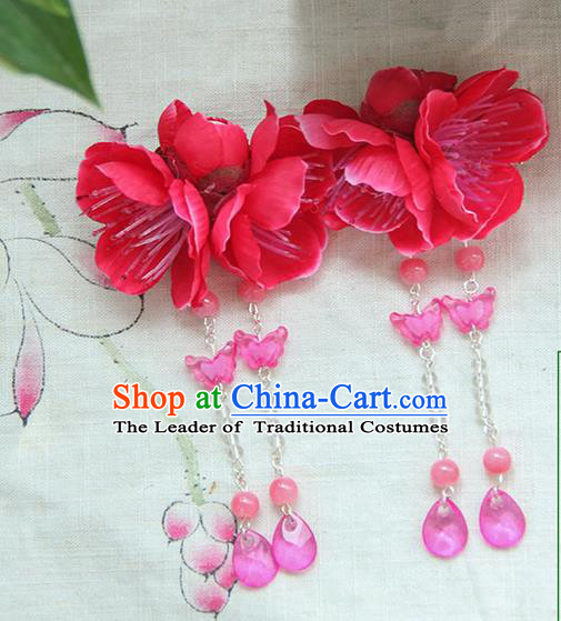 Traditional Handmade Chinese Ancient Princess Classical Hanfu Accessories Jewellery Silk Flowers Hair Sticks Hair Claws, Tassel Hair Fascinators Hairpins for Women