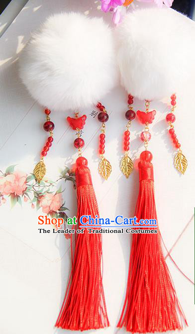 Traditional Handmade Chinese Ancient Princess Classical Hanfu Accessories Jewellery Venonat Red Tassel Hair Step Shake Hair Claws, Hanfu Tassel Hair Fascinators Hairpins for Women