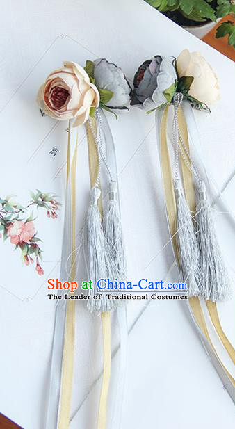 Traditional Handmade Chinese Ancient Princess Classical Hanfu Accessories Jewellery Silk Flowers Long Ribbon Hair Sticks Hair Claws, Tassel Hair Fascinators Hairpins for Women