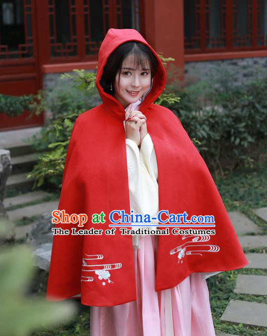 Traditional Ancient Chinese Female Costume Embroidered Flowers Short Cloak, Elegant Hanfu Mantle Clothing Chinese Ming Dynasty Embroidered Palace Princess Red Hooded Cape Clothing for Women