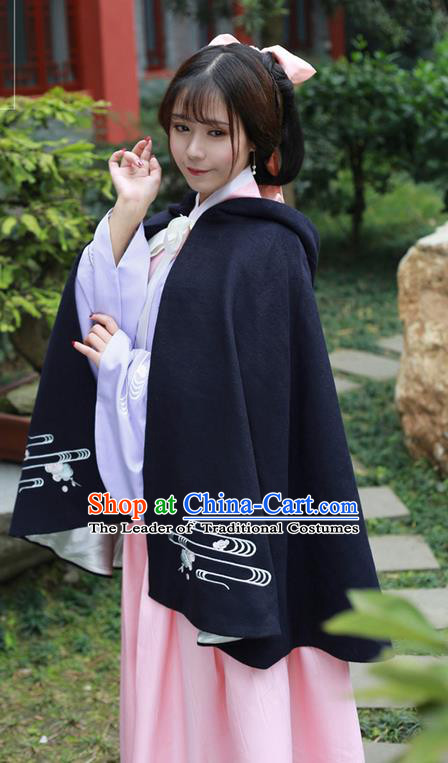 Traditional Ancient Chinese Female Costume Embroidered Flowers Short Cloak, Elegant Hanfu Mantle Clothing Chinese Ming Dynasty Embroidered Palace Princess Navy Hooded Cape Clothing for Women