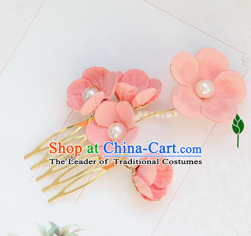 Traditional Handmade Chinese Ancient Princess Classical Hanfu Accessories Jewellery Silk Flowers Hair Step Shake Hair Claws, Hair Comb Hairpins for Women