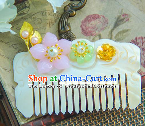 Traditional Handmade Chinese Ancient Princess Classical Hanfu Accessories Jewellery Shell Hair Step Shake Hair Claws, Hair Comb Hairpins for Women