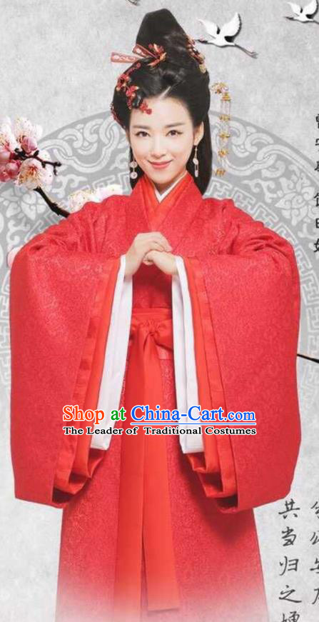 Traditional Ancient Chinese Imperial Empress Wedding Costume, Elegant Hanfu Bride Red Dress Chinese Han Dynasty Imperial Princess Tailing Embroidered Clothing for Women