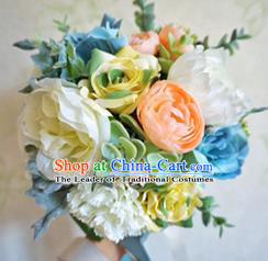 Top Grade Classical Wedding Silk Flowers, Bride Holding Emulational Blue Flowers, Hand Tied Bouquet Flowers for Women