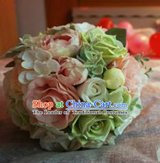 Top Grade Classical Wedding Silk Flowers, Bride Holding Emulational Pink Paeonia Lactiflora Flowers, Hand Tied Bouquet Flowers for Women