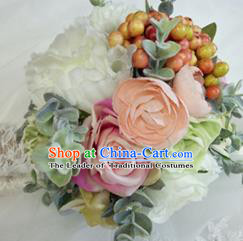 Top Grade Classical Wedding Silk Flowers, Bride Holding Emulational Pink Fruit Flowers, Hand Tied Bouquet Flowers for Women